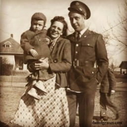 Allen with his parents Mary-Mae and Guy in 1941