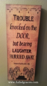 This hangs in our guest bathroom. Gotta love Mr. Franklin!