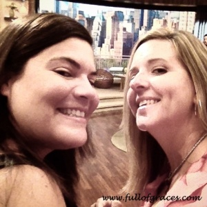 Amy (right) and her friend Jen at Live! With Kelly and Michael