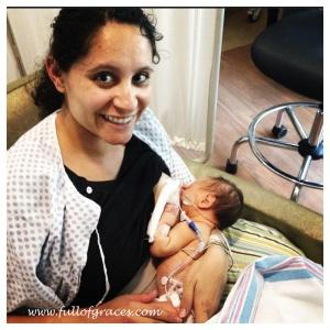 Jennifer nursing preemie Andrew.