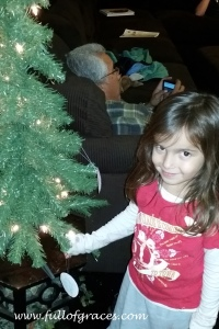 This sweet face is Clare, Steffani's youngest, putting an ornament on the Jesse tree.