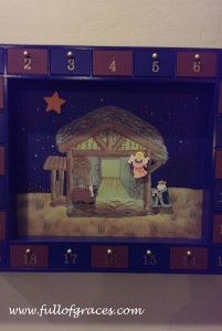 The truth is I came upon this Advent calendar in a shop in Charleston, SC, mere seconds before Lesley. Whew.
